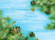 Christmas tree branch on a blue wooden snow background frame. Christmas tree branch a blue wooden background frame snow royalty free stock image