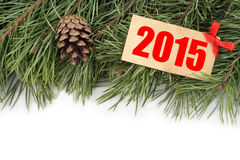Christmas tree branch, bumps and wooden plate with text 2015 Royalty Free Stock Image