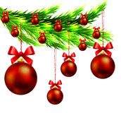 Christmas tree branch with Christmas balls. Vector art illustration New Year Royalty Free Stock Image