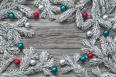 Christmas tree branch with Christmas balls Royalty Free Stock Image