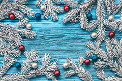 Christmas tree branch with Christmas balls Royalty Free Stock Photos