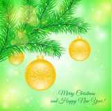 Christmas tree branch with Christmas toys Royalty Free Stock Photo