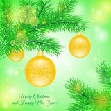 Christmas tree branch with Christmas yellow toys. This is file of EPS10 format Stock Illustration