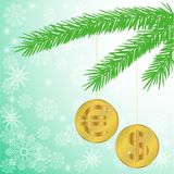 Christmas tree branch with coins Stock Photos