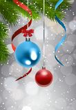 Christmas Tree Branch With Colorful Balls Over Grittering Background Holiday Decoration Banner. Vector Illustration vector illustration