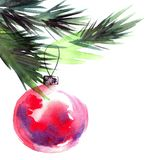 Christmas tree branch and cristmas balls. Watercolor painted christmas tree branch with christmass balls. Artistic background for greeting card or invitation Stock Images