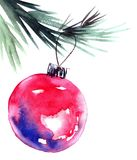 Christmas tree branch and cristmas balls. Watercolor painted christmas tree branch with christmass balls. Artistic background for greeting card or invitation Royalty Free Stock Image