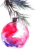 Christmas tree branch and cristmas balls. Watercolor painted christmas tree branch with christmass balls. Artistic background for greeting card or invitation Royalty Free Stock Photography