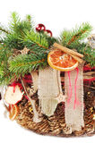Christmas-tree branch decorated Royalty Free Stock Photo