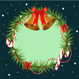 Christmas tree branch decorated with bells and red bow. Round frame with copy space, design element for for Christmas. And new year design. Vector illustration Stock Photos