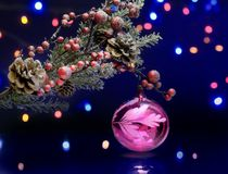 Christmas tree branch with decoration ball. Sparkling and fairy background Stock Photography