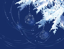 Christmas tree branch with decoration balls. Royalty Free Stock Photos