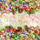 Christmas tree branch decoration with multicolored defocused lig Royalty Free Stock Images