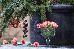 Christmas tree branch with decoration Venetian Harlequin and del Royalty Free Stock Photo