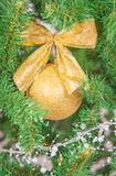 Christmas tree branch with decorations beckground Royalty Free Stock Photos