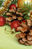 Christmas tree branch with decorations Stock Image