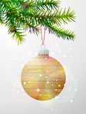 Christmas tree branch with decorative bauble of wood. Wooden christmas tree ball hanging on pine twig. Vector image for christmas, new years day, decoration Royalty Free Stock Photos