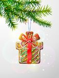 Christmas tree branch with decorative cookie Royalty Free Stock Photo