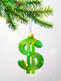 Christmas tree branch with decorative dollar symbol Stock Images