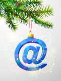 Christmas tree branch with decorative email symbol Stock Photography