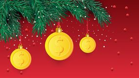 Christmas tree branch with decorative gold dollar symbol. Dollar sign as christmas bauble hanging on pine twig. Vector image for royalty free illustration