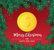 Christmas tree branch with decorative gold dollar symbol. Dollar sign as christmas bauble hanging on pine twig. Vector image for stock illustration