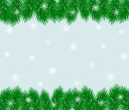 Christmas tree branch frame. Christmas tree branch frame with snowflakes raster illustration Royalty Free Stock Images
