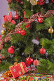 Christmas tree branch with a gift Stock Photos