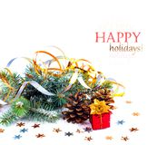 Christmas tree branch with gift in red box Royalty Free Stock Photography