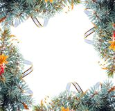 Christmas tree branch with gold serpentine Royalty Free Stock Photo