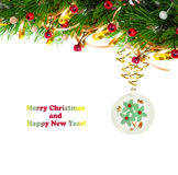 Christmas tree branch with gold serpentine Stock Images