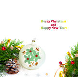 Christmas tree branch with gold serpentine Stock Photo