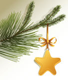 Christmas tree branch with gold star. Christmas background with decorated Christmas tree branch Stock Images