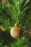Christmas tree branch with golden ball. Christmas golden ball with sparkles Stock Photos