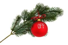 Christmas tree branch, isolated Royalty Free Stock Photos