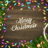 Christmas tree branch with lights. EPS 10 Royalty Free Stock Image