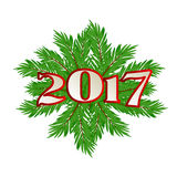 Christmas tree branch. New 2017. Vector. Christmas tree branch. New 2017 Vector illustration Royalty Free Stock Photography