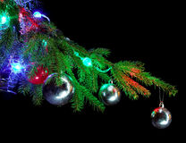 Christmas tree branch with ornaments Royalty Free Stock Image