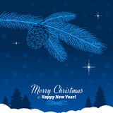 Christmas Tree Branch with Pine Cone in Blue Royalty Free Stock Photo