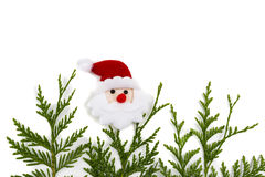 Christmas tree branch and red ball with Santa Claus Stock Image