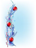 Christmas tree branch with red balloons Royalty Free Stock Photography