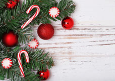 Christmas tree branch with red balls Stock Photo
