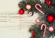 Christmas tree branch with red balls Royalty Free Stock Image