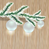 Christmas tree branch with silver balls. Wood background. illustration. Christmas tree branch with silver balls. Wood background.  illustration Stock Images