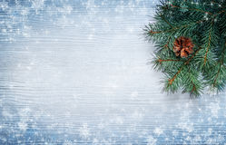 Christmas tree branch on the snow-covered wooden background. Top view Royalty Free Stock Photo
