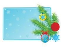 Christmas tree branch and toys Stock Photos