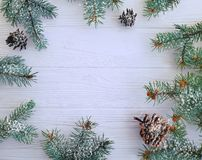 Christmas tree branch on a white wooden snow background frame. Christmas tree branch a white wooden background frame snow stock photos