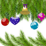Christmas tree branches and balls frame Royalty Free Stock Photo