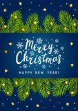 Christmas tree branches border on blue. Background Royalty Free Stock Images