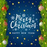 Christmas tree branches border. On blue background Royalty Free Stock Photos